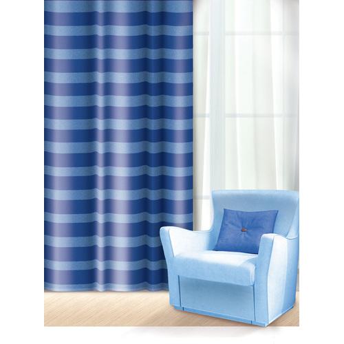 Штора Home Queen Нуар, на петлях, цвет: синий, высота 275 смSVC-300Изящная штора Home Queen Нуар выполнена из полиэстера. Полупрозрачная ткань, приятная цветовая гамма, принт в полоску привлекут к себе внимание и органично впишутся в интерьер помещения. Такая штора идеально подходит для солнечных комнат. Мягко рассеивая прямые лучи, она хорошо пропускает дневной свет и защищает от посторонних глаз. Отличное решение для многослойного оформления окон. Эта штора будет долгое время радовать вас и вашу семью!Штора крепится на карниз при помощи петель.