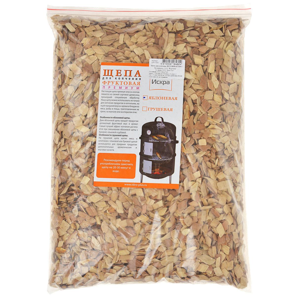 Щепа для копчения Искра Яблоневая, 1 кгЩЯ-1000Щепа для копчения Искра Яблоневая - это настоящая щепа премиум класса, которая изготавливается из свежей сортовой древесины, прошедшей специальную обработку. Такую щепу можно использовать не только для копчения в коптильнях, но и для придания вкуса и аромата блюдам из мяса, рыбы и птицы, приготовленным на гриле, на мангале или на открытом огне. Дым яблоневой щепы придает продуктам деликатный фруктовый вкус и аромат. Самый лучший эффект копчения достигается при смешивания яблоневой щепы с буковой, ольховой и дубовой. Рекомендуется перед употреблением замочить щепу на 20-30 минут в воде.Фракция: 3-8 мм.Вес: 1 кг.Влажность: 15-20%.