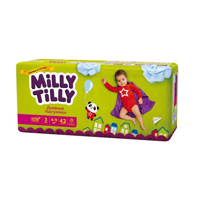 Milly Tilly Подгузники дневные Midi, 4-9 кг, 42 шт подгузники детские milly tilly milly tilly дневные подгузники для детей мини 2 3 6кг 68шт