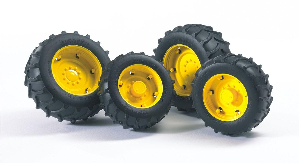 """Аксессуары для погрузчика Bruder - """"Super-Pro"""" шины для системы сдвоенных колес, откроют новые горизонты игры с машинками для вашего ребенка. Аксессуар шины для системы сдвоенных колес с желтыми дисками - дополнительное навесное оборудование для техники Bruder, выполненное в масштабе 1:16. Оборудование устанавливается на соответствующие ему машины и трактора, определять подходит ли устройство к данной технике нужно по буквам, нанесенным на упаковку, этот аксессуар подойдет к технике у которой на упаковке нанесена буква А. Данный комплект устанавливается на стандартные колеса и служит для улучшения внедорожных качеств тракторов, позволяя им работать на мягких или сыпучих грунтах, передние колеса - диаметр 8 см., задние - 10 см."""