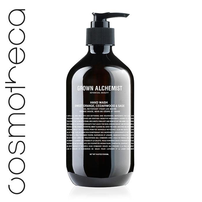 Grown Alchemist Жидкое мыло для рук Апельсин, кедр и шалфей, 500 млMP59.4DВеликолепно пенится, мягко иэффективно очищая кожу.Стимулирует циркуляцию.Повышает выработку липидовкожей.Успокаивает и смягчает кожу.