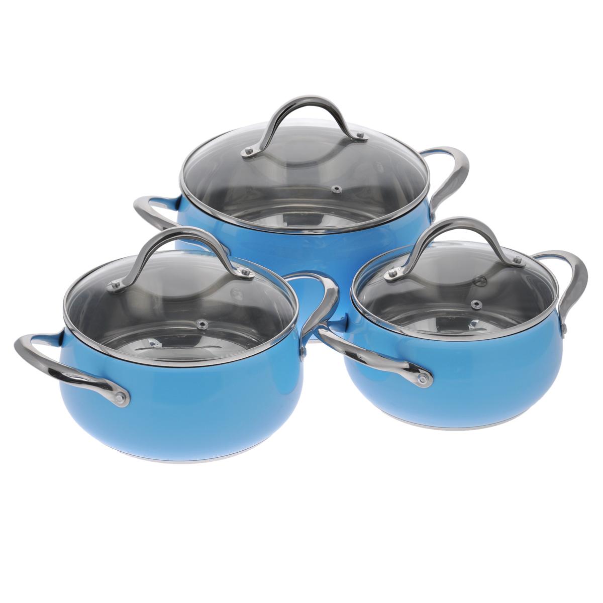 Набор посуды Winner, цвет: голубой, 6 предметов. WR-1103FS-91909В набор посуды Winner входят 3 кастрюли с крышками. Вся посуда выполнена из высококачественной нержавеющей стали 18/10, а идеально ровная внутренняя поверхность значительно облегчает мытье. Энергосберегающее, капсулированное дно быстро и равномерно распределяет тепло. Цветной корпус придает набору особо эстетичный внешний вид. Предметы набора оснащены двумя удобными ручками из нержавеющей стали. Крышки, выполненные из термостойкого стекла с ободком из нержавеющей стали и пароотводом, позволят вам следить за процессом приготовления пищи. Крышки плотно прилегают к краям посуды, предотвращая проливание жидкости и сохраняя аромат блюд.Подходит для газовых, электрических, стеклокерамических и индукционных плит. Можно мыть в посудомоечной машине.Набор посуды Winner - идеальный подарок для современных хозяек, которые следят за своим здоровьем и здоровьем своей семьи. Эргономичный дизайн и функциональность набора позволят вам наслаждаться процессом приготовления любимых, полезных для здоровья блюд. Объем кастрюль: 2,5 л; 3,2 л; 5,6 л. Внешний диаметр: 19 см; 21 см; 25 см. Внутренний диаметр: 18 см; 20 см; 24 см. Ширина кастрюль с учетом ручек: 29 см; 31 см; 35,5 см.Диаметр крышек: 18,5 см; 20,5 см; 24,5 см.Высота стенок: 10,1 см; 10,8 см; 12,9 см.Толщина стенки: 0,7 мм.Толщина дна: 4 мм.Диаметр дна: 16,5 см; 18 см; 22,5 см.