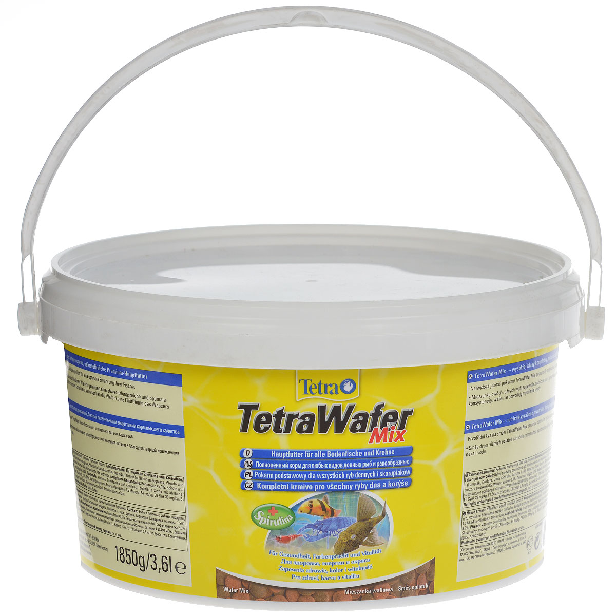 Корм сухой TetraWafer Mix для всех донных рыб и ракообразных, в виде пластинок, 3,6 л0120710Корм TetraWafer Mix - это сбалансированный, богатый питательными веществами корм высшего качества. Превосходное качество корма обеспечивает оптимальное питание ваших рыб.Сочетание двух разных пластинок обеспечивает разнообразие и оптимальное питание. Благодаря твердой консистенции пластинки не загрязняют воду.Рекомендации по кормлению: кормить несколько раз в день маленькими порциями.Характеристики:Состав: рыба и побочные рыбные продукты, зерновые культуры, экстракты растительного белка, растительные продукты, дрожжи, моллюски и раки, масла и жиры, водоросли (спирулина максима 1,5%), минеральные вещества.Пищевая ценность: сырой белок - 45%, сырые масла и жиры - 6%, сырая клетчатка - 2%, влага - 9%.Добавки: витамины, провитамины и химические вещества с аналогичным воздействием, витамин А 28460 МЕ/кг, витамин Д3 1770 МЕ/кг. Комбинации элементов: Е5 Марганец 64 мг/кг, Е6 Цинк 38 мг/кг, Е1 Железо 25 мг/кг, Е3 Кобальт 0,5 мг/кг. Красители, консерванты, антиоксиданты.Вес: 500 мл (1850 г).