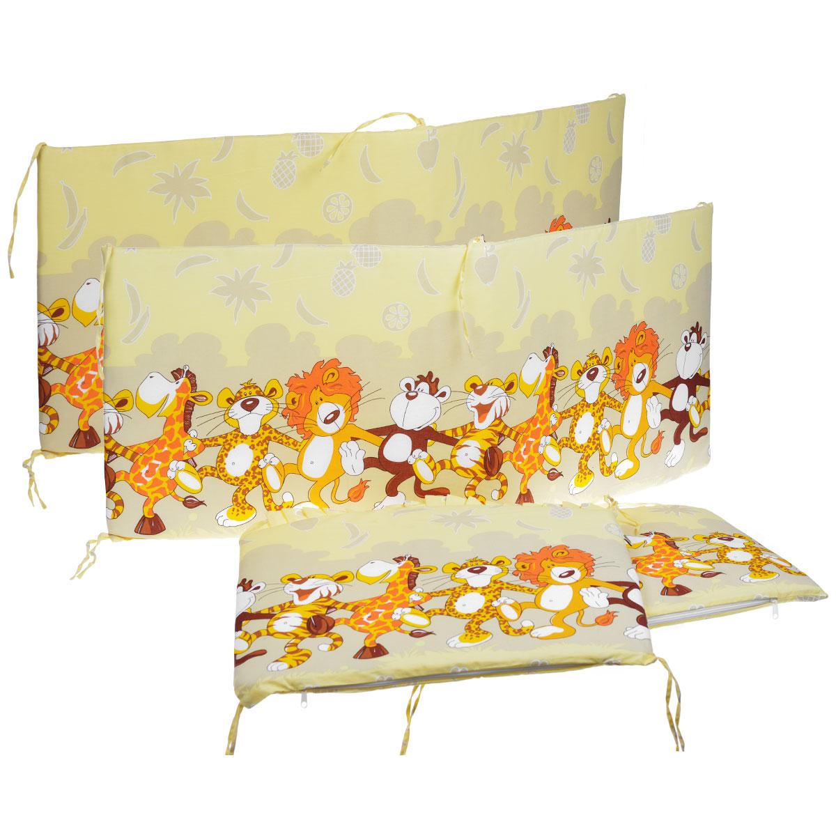 """Бампер в кроватку """"Африка"""" состоит из четырех частей и закрывает весь периметр кроватки. Бортик крепится к кроватке с помощью специальных завязок, благодаря чему его можно поместить в любую детскую кроватку. Бампер выполнен из бязи - натурального хлопка безупречной выделки. Деликатные швы рассчитаны на прикосновение к нежной коже ребенка. Бампер оформлен оборками и авторским рисунком с изображениями веселых танцующих зверей. Наполнителем служит холлкон - эластичный синтетический материал, экологически безопасный и гипоаллергенный, обладающий высокими теплозащитными свойствами. Бампер защитит ребенка от возможных ударов о деревянные или металлические части кроватки. Бортик подходит для кроватки размером 120 см х 60 см."""