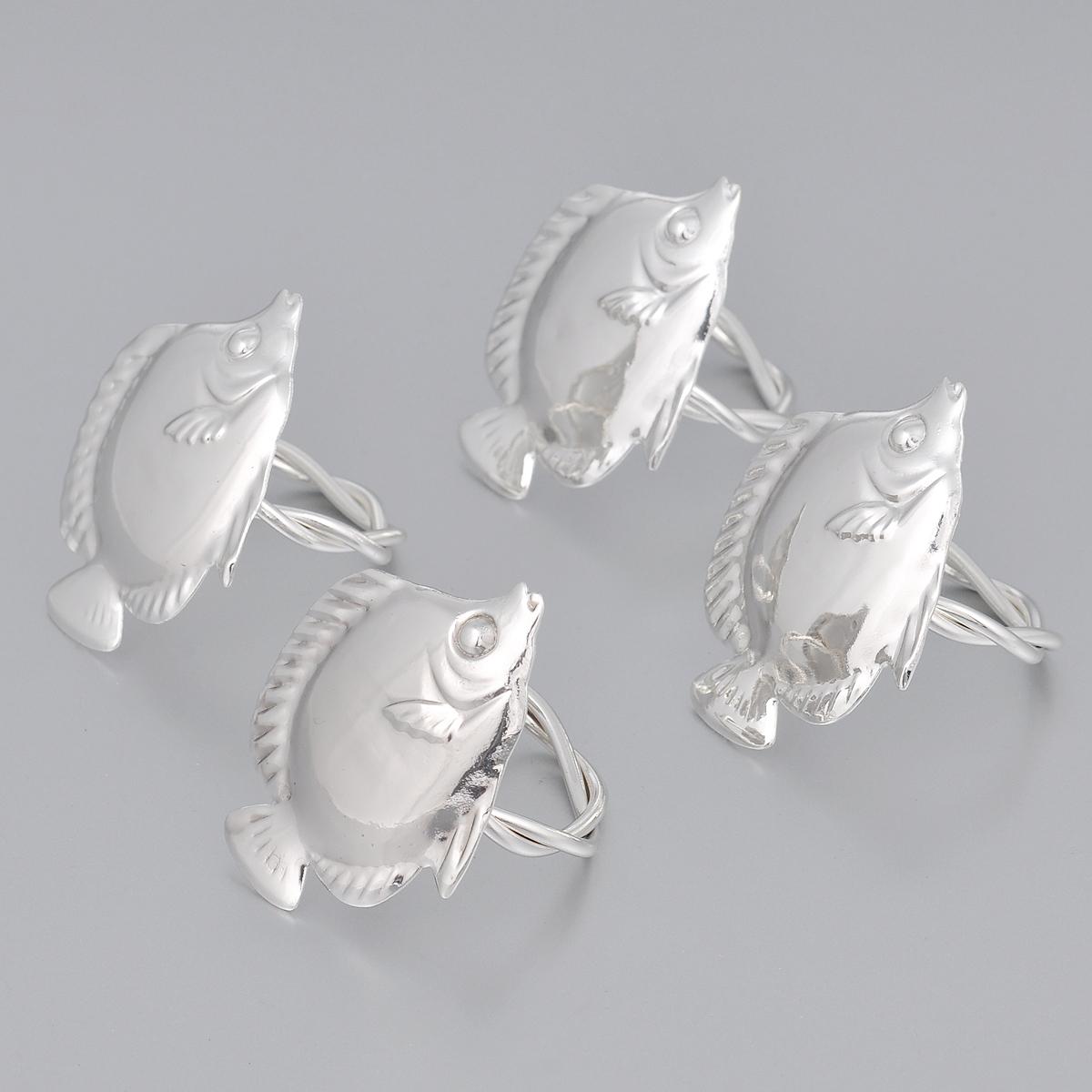 Набор колец для салфеток Marquis Рыбки, 4 штFS-91909Набор Marquis Рыбки состоит из четырех оригинальных колец для салфеток, выполненных с простотой и изяществом. Кольца изготовлены из стали с серебряно-никелевым покрытием и украшены фигурками в виде рыбки.Набор станет замечательной деталью сервировки и великолепным украшением праздничного стола.Диаметр кольца: 4,5 см. Размер декоративной части: 6,5 см х 5 см.
