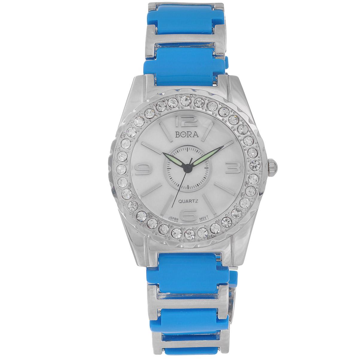 Часы наручные женские Bora, цвет: голубой, серебряный. FWBR052 / T-B-8527-WATCH-TURQUOISER1556-53Часы торговой марки Bora отличает изысканный стиль и превосходное качество изготовления. Японский механизм Seiko отличает невероятная точность. С ними вы точно не пропустите ничего интересного.Корпус часов выполнен из легированного металлического сплава и украшен стразами. Ремешок изготовлен из металла и ювелирного пластика и застегивается на застежку-клипсу.Практичная и незаменимая вещь в сумасшедшем ритме современной жизни. Стильный и элегантный аксессуар идеально дополнит ваш повседневный образ. Характеристики:Размеры корпуса: 4 х 4,5 х 1 см.Размеры ремешка без учета корпуса: 16 х 2 см.