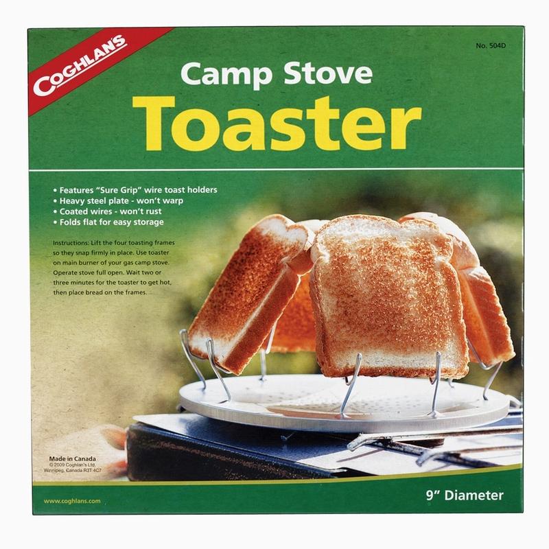 Тостер кемпинговый Coghlans, диаметр 23 см8041Кемпинговый тостер Coghlans, изготовленный из металла, имеет оригинальную конструкцию. Представляет собой металлический диск с отверстиями посередине и четырьмя держателями для кусочков хлеба. Изделие можно использовать не только для приготовления хлебных, но и овощных тостов. Легкий и удобный в хранении и переноске тостер Coghlans станет незаменимым аксессуаром в туристическом походе.Диаметр тостера: 23 см.