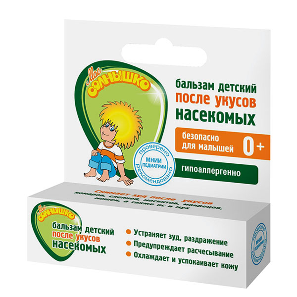 Мое солнышко Бальзам детский после укусов насекомых, 2,8 гFS-00897Детский бальзам после укусов насекомых Мое солнышко разработан специально для детей. Бальзам в удобной форме карандаша эффективно ухаживает за кожей малыша после укусов комаров, слепней, мух и других насекомых. Комплекс активных ингредиентов на основе вытяжки ячменных зерен, масла ши и арганы с экстрактами ромашки и подорожника оказывает успокаивающее действие на кожу в месте укуса - устраняет зуд, раздражение и покраснение кожи. Масло мяты обеспечивает длительное охлаждающее, освежающее действие.Рекомендуется применять для кожи тела с рождения.Гипоаллергенно. Клинически проверено и рекомендовано ФГУ МНИИ Педиатрии и детской хирургии.Товар серцифицирован.
