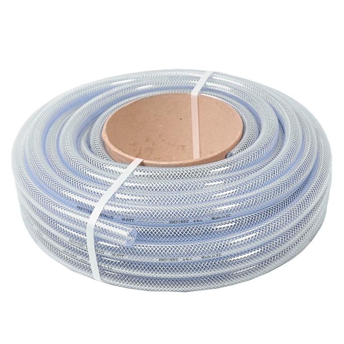Шланг поливочный Fitt Refittex Cristallo, трехслойный, диаметр 22 мм, 20 мст450-2нсАрмированный прозрачный трехслойный шланг Fitt Refittex Cristallo, изготовленный из ПВХ, предназначен для полива. Изделие армировано путем вставки тонкого плетения из нитей полиэстера по всей его поверхности. Армированные шланги имеют преимущество в силу лучшей устойчивости на разрыв и работы под давлением без раздувания. Однако армированные шланги жесткие, а потому особенно подвержены перегибам и заломам. Температура использования шланга -10°C до +50°C. Устойчив к ультрафиолетовым лучам и образованию водорослей на внутреннем слое. Применяется всесезонно. Легок в использовании. Внешний диаметр шланга: 22 мм. Внутренний диаметр шланга: 16 мм. Рабочее давление: 20 бар.