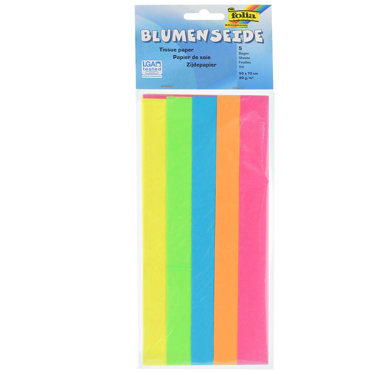 Бумага папиросная Folia, 50 х 70 см, 5 листов. 770813497775318Бумага папиросная Folia - это великолепная тонкая и эластичная декоративная бумага. Такая бумага очень хороша для изготовления своими руками цветов и букетов с конфетами, топиариев, декорирования праздничных мероприятий. Также из нее получается шикарная упаковка для подарков. Интересный эффект дает сочетание мягкой полупрозрачной фактуры папиросной бумаги с жатыми и матовыми фактурами: креп-бумагой, тутовой и различными видами картона. Бумага очень тонкая, полупрозрачная - поэтому ее можно оригинально использовать в декоре стекла, светильников и гирлянд. В комплекте - 5 листов разных ярких цветов (розовый, оранжевый, голубой, салатовый, желтый).Достаточно большие размеры листа и богатая цветовая палитра дают простор вашей творческой фантазии.Размер листа: 50 см х 70 см.Плотность: 20 г/м2.