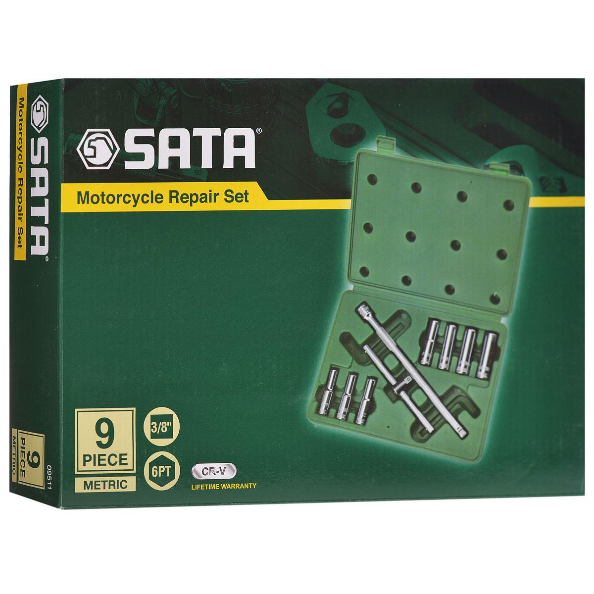 Набор торцевых головок SATA 9пр. 95119511Набор удлиненных торцевых головок Sata предназначен для монтажа/демонтажа резьбовых соединений. Все инструменты набора выполнены из высококачественной хромованадиевой стали. В комплекте пластиковый кейс для переноски и хранения.Состав набора:Головки удлиненные шестигранные торцевые: 8 мм, 9 мм, 10 мм, 11 мм, 12 мм, 13 мм, 14 мм.Вороток со скользящей перекладиной.Отклоняемый удлинитель длиной 10 дюймов.