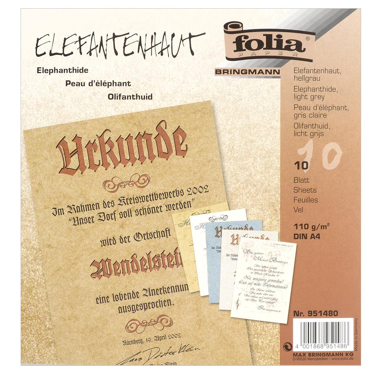 Бумага с имитацией пергамента Folia, цвет: светло-серый, A4, 10 листовC0042416Гладкая тонированная дизайнерская бумага Folia с имитацией окрашенного пергамента идеальна для изготовления оригинальных визиток, папок, календарей, презентационной продукции. Также бумага прекрасно подойдет для оформления творческих работ в технике скрапбукинг. Ее можно использовать для украшения фотоальбомов, скрап-страничек, подарков, конвертов, фоторамок, открыток и многого другого. В наборе - 10 листов.Скрапбукинг - это хобби, которое способно приносить массу приятных эмоций не только человеку, который этим занимается, но и его близким, друзьям, родным. Это невероятно увлекательное занятие, которое поможет вам сохранить наиболее памятные и яркие моменты вашей жизни, а также интересно оформить интерьер дома.Плотность бумаги: 110 г/м2.Размер листа: 21 см х 29,5 см.Формат листа: A4.