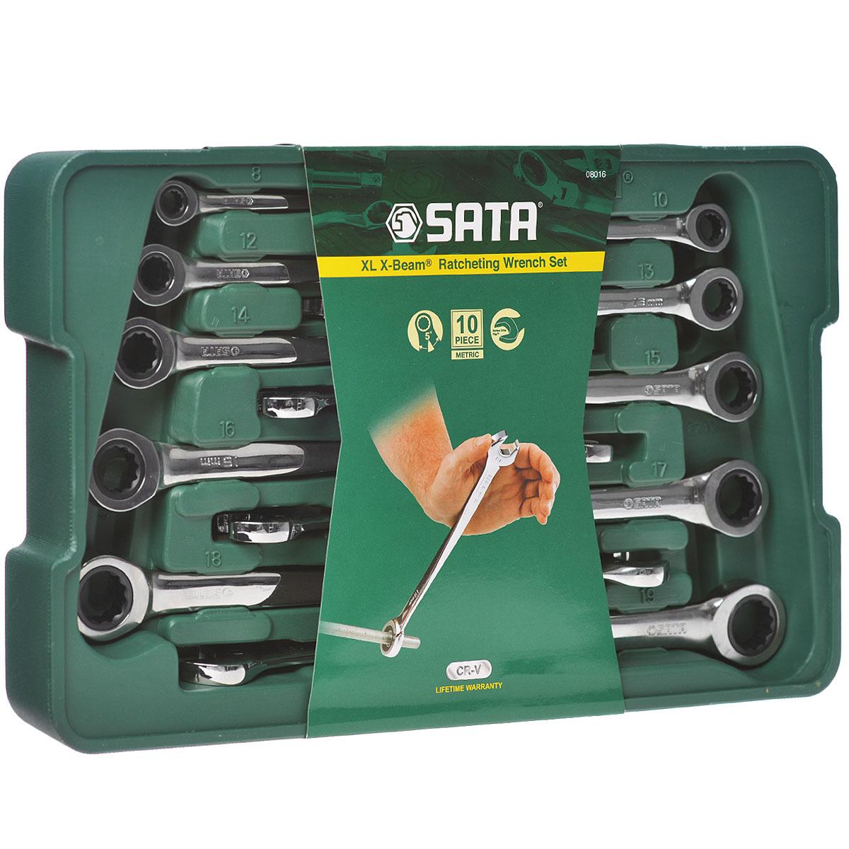 Набор ключей SATA 10пр. 0801698298130Набор ключей Sata - это необходимый предмет в каждом доме. Ключи метрические комбинированные, Х-образные (повернутые 90 градусов, скрученные). Набор включает в себя 10 предметов, и упакован в удобный пластиковый кейс. Такой набор будет идеальным подарком мужчине. В набор входят ключи размером: 8 мм, 10 мм, 12 мм, 13 мм, 14 мм, 15 мм, 16 мм, 17 мм, 18 мм, 19 мм.