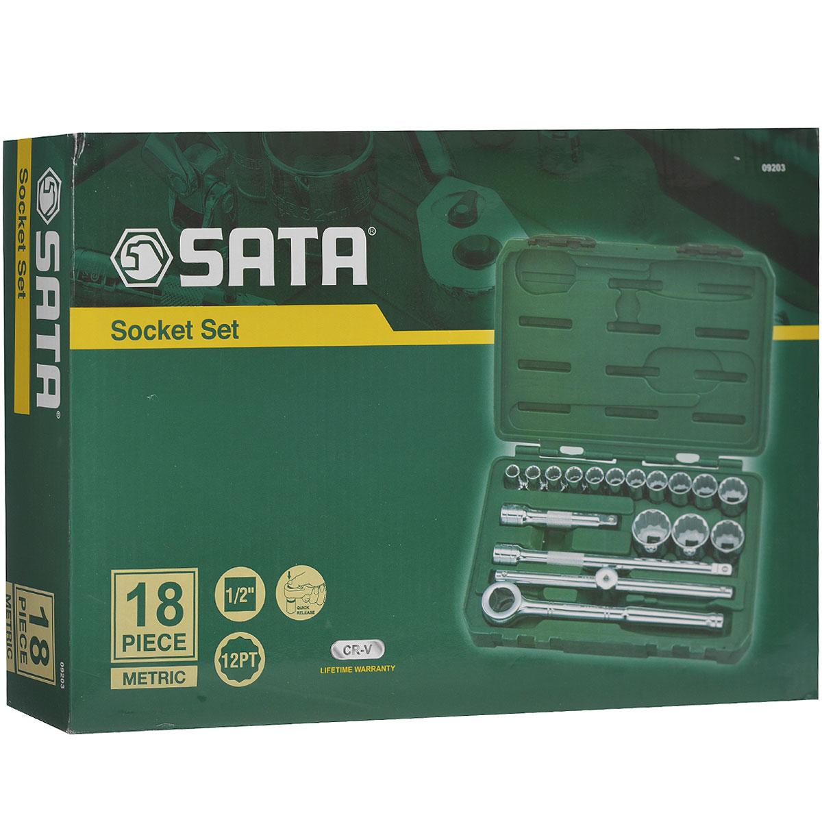 Набор торцевых головок SATA 18пр. 0920380621Набор инструментов Sata - это необходимый предмет в каждом доме. Он включает в себя 18 предметов, и упакован в удобный пластиковый кейс. Такой набор будет идеальным подарком мужчине.Преимуществом любого набора марки SATA является то, что любую его составляющую вы можете приобрести отдельно.Состав набора: головки торцевые 1/2 12 граней: 10 мм, 11 мм, 12 мм, 13 мм, 14 мм, 15 мм, 16 мм, 17 мм, 19 мм, 21 мм, 24 мм, 27 мм, 30 мм, 32 мм;ключ трещоточный дисковый 1/2;удлинители 1/2: 125 мм, 250 мм;вороток скользящий 1/2.