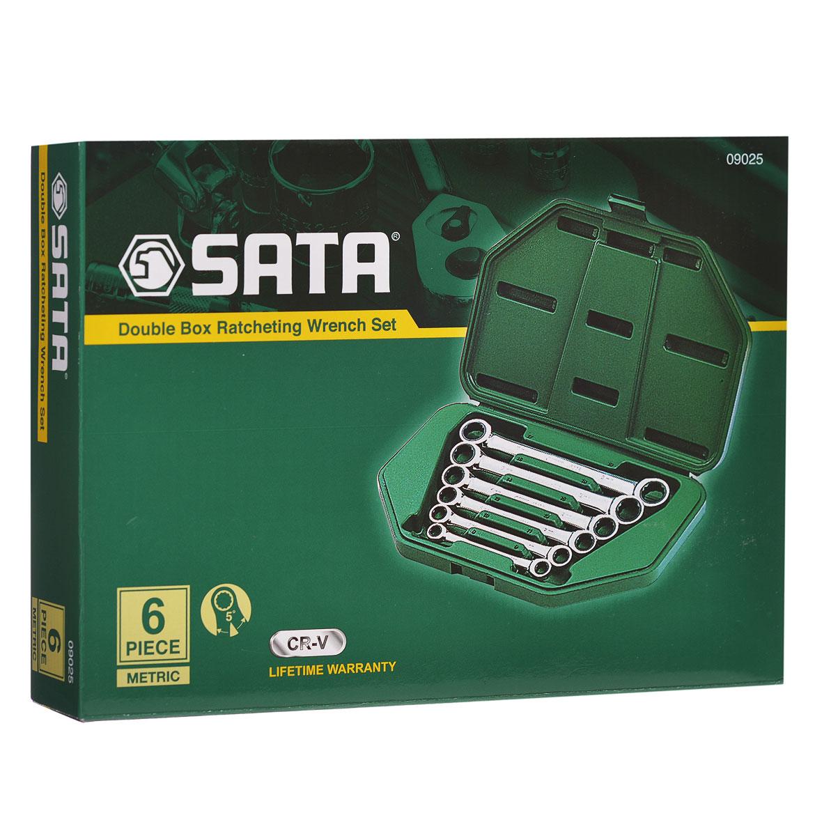 Набор ключей SATA 6пр. 0902509025Метрические накидные комбинированные ключи Sata с реверсивным трещоточным механизмом предназначены для монтажа/демонтажа резьбовых соединений. Все инструменты набора выполнены из высококачественной хромованадиевой стали. В комплекте пластиковый кейс для переноски и хранения.В набор входят ключи размером: 8 мм х 9 мм, 10 мм х 11 мм, 12 мм х 13 мм, 14 мм х 15 мм, 16 мм х 18 мм, 17 мм х 19 мм.