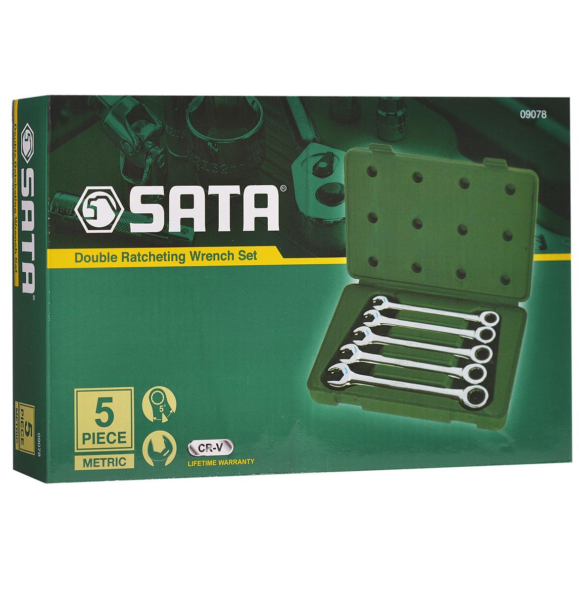 Набор ключей SATA 5пр. 0907880621Метрические комбинированные укороченные ключи Sata с реверсивным трещоточным механизмом предназначены для монтажа/демонтажа резьбовых соединений. Инструменты выполнены из высококачественной хромованадиевой стали. В комплекте пластиковый кейс для переноски и хранения.В набор входят ключи размером: 10 мм, 11 мм, 12 мм, 13 мм, 14 мм.