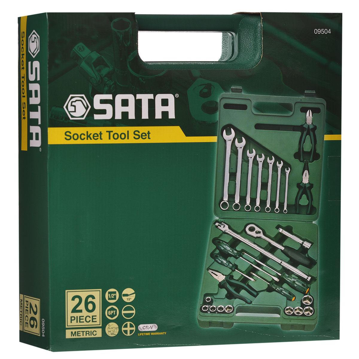 Набор инструментов SATA 26пр. 0950498298130Набор инструментов Sata - это необходимый предмет в каждом доме. Он включает в себя 26 предметов, которые умещаются в небольшом пластиковом кейсе. Такой набор будет идеальным подарком мужчине.Состав набора:Головки торцовые шестигранные 1/2: 10 мм, 12 мм, 13 мм, 14 мм, 17 мм, 19 мм, 21 мм, 22 мм, 24 мм.Ключи комбинированные: 8 мм, 10 мм, 12 мм, 14 мм, 16 мм, 17 мм, 19 мм.Ключ трещоточный 1/2.Удлинитель 1/2: 125 мм. Рычаг угловой 1/2: 260 мм.Отвертки Phillips: РН1 х 75 мм, РH2 х 150 мм.Отвертки шлицевые: 5 мм х 75 мм, 6 мм х 150 мм.Тонкогубцы: 150 мм.Бокорезы: 160 мм.Плоскогубцы: 180 мм.