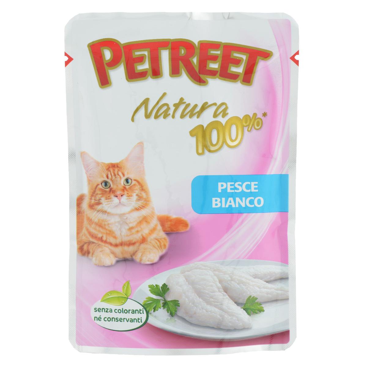 Консервы для кошек Petreet, с белой рыбой, 85 г57663_индейка_пряностиКонсервы для кошек Petreet - это линейка кормов, в которых содержится белок только животного происхождения. Это помогает защитить вашу кошку от пищевой аллергии, тем самым обеспечивая ее полезное и вкусное питание. Консервы для кошек Petreet специально разработаны без добавления консервантов, красителей и усилителей вкуса. Характеристики: Состав: белая рыба (60%), рисовая мука (1%), модифицированный крахмал.Пищевая ценность: белки - 10%, влажность - 86%, масла - 1,0%, клетчатка - 0,5%, зола - 1 %.Вес: 85 г.Товар сертифицирован.