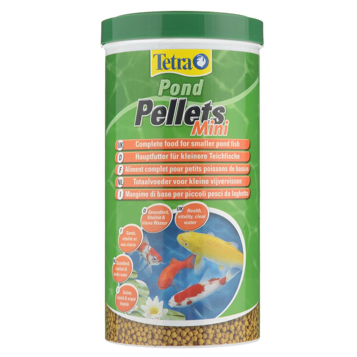 Корм сухой Tetra Pond Pellets Mini для всех видов прудовых рыб, в виде шариков, 1 л0120710Корм Tetra Pond Pellets Mini - это идеальный корм в виде шариков для всех видов прудовых рыб длиной до 20 см. Обеспечивает полноценное и сбалансированное питание. быстро размягчается в воде и легко переваривается рыбами, обеспечивает небольшое количество отходов и не загрязняет воду. Рекомендации по кормлению: кормите не менее 2-3 раз в день в таком количестве, которое ваши рыбы могут съесть в течение нескольких минут.Характеристики:Состав: зерновые культуры, экстракты растительного белка, растительные продукты, рыба и побочные рыбные продукты, дрожжи, масла и жиры, водоросли, минеральные вещества. Пищевая ценность: сырой белок - 28%, сырые масла и жиры - 3.5%, сырая клетчатка - 2%, влага - 7%.Добавки: витамины, провитамины и химические вещества с аналогичным воздействием, витамин А 28800 МЕ/кг, витамин Д3 1800 МЕ/кг. Комбинации элементов: Е5 Марганец 74 мг/кг, Е6 Цинк 44 мг/кг, Е1 Железо 29 мг/кг, Е3 Кобальт 0,5 мг/кг. Красители, антиоксиданты.Вес: 1000 мл (260 г).