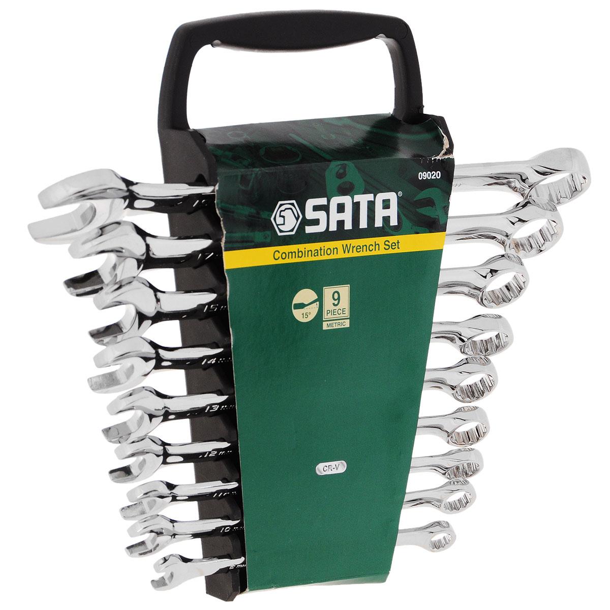 Набор ключей SATA 9пр. 0902098298130Набор инструментов Sata - это необходимый предмет в каждом доме и автомобиле. Набор прекрасно подойдет для проведения ремонтных работ в домашних условиях. Все инструменты выполнены из высококачественной хромованадиевой стали стали.В состав набора входят метрические комбинированные ключи размером: 8 мм, 10 мм, 12 мм, 13 мм, 14 мм, 15 мм, 17 мм, 19 мм.