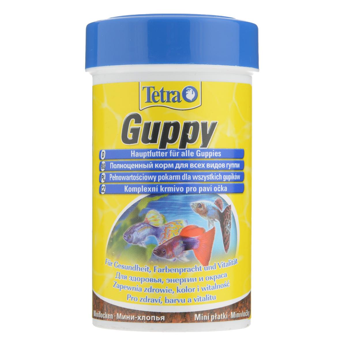 Корм Tetra Guppy для всех видов гуппи, в виде мини-хлопьев, 100 мл0120710Корм Tetra Guppy - это высококачественный сбалансированный питательный корм в виде мини-хлопьев для всех видов гуппи, а также для других живородящих аквариумных рыб. Особенности Tetra Guppy:мини-хлопья изготовлены специально для маленьких ртов гуппи и других живородящих рыб,высокое содержание растительных ингредиентов и минералов для улучшения вкусовых качеств и роста,усилители окраса для ярких цветов. Рекомендации по кормлению: кормить несколько раз в день маленькими порциями. Характеристики: Состав: экстракты растительного белка, зерновые культуры, дрожжи, моллюски и раки, масла и жиры, водоросли, сахар, минеральные вещества.Пищевая ценность: сырой белок - 45%, сырые масла и жиры - 8%, сырая клетчатка - 4,0%, влага - 8%.Добавки: витамины, провитамины и химические вещества с аналогичным воздействием: витамин А 27800 МЕ/кг, витамин Д3 850 МЕ/кг. Красители, антиоксиданты. Вес: 100 мл (30 г).Товар сертифицирован.