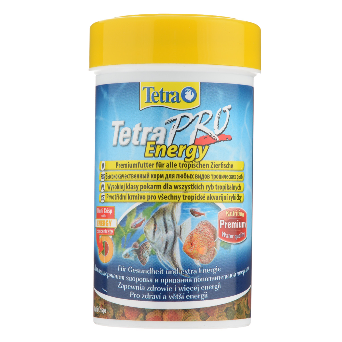 Корм сухой TetraPro Energy для всех видов тропических рыб, в виде чипсов, 250 мл141742Полноценный высококачественный корм Tetra TetraPro. Energy для всех видов тропических рыб разработан для поддержания здоровья и придания дополнительной энергии. Особенности Tetra TetraPro. Energy:- щадящая низкотемпературная технология изготовления обеспечивает высокую питательную ценность и стабильность витаминов;- энергетический концентрат для дополнительной энергии;- инновационная форма чипсов для минимального загрязнения воды отходами; - легкое кормление. Рекомендации по кормлению: кормить несколько раз в день маленькими порциями. Состав: рыба и побочные рыбные продукты, зерновые культуры, экстракты растительного белка, дрожжи, моллюски и раки, масла и жиры, водоросли, сахар.Аналитические компоненты: сырой белок - 46%, сырые масла и жиры - 12%, сырая клетчатка - 2,0%, влага - 9%.Добавки: витамины, провитамины и химические вещества с аналогичным воздействием: витамин А 29880 МЕ/кг, витамин Д3 1865 МЕ/кг, Л-карнитин 123 мг/кг. Комбинации элементов: Е5 Марганец 67 мг/кг, Е6 Цинк 40 мг/кг, Е1 Железо 26 мг/кг, Е3 Кобальт 0,6 мг/кг. Красители, консерванты, антиоксиданты. Товар сертифицирован.