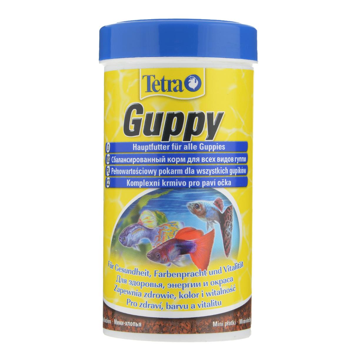 Корм Tetra Guppy для всех видов гуппи, в виде мини-хлопьев, 250 мл101246Корм Tetra Guppy - это высококачественный сбалансированный питательный корм в виде мини-хлопьев для всех видов гуппи, а также для других живородящих аквариумных рыб. Особенности Tetra Guppy:мини-хлопья изготовлены специально для маленьких ртов гуппи и других живородящих рыб,высокое содержание растительных ингредиентов и минералов для улучшения вкусовых качеств и роста,усилители окраса для ярких цветов. Рекомендации по кормлению: кормить несколько раз в день маленькими порциями. Характеристики: Состав: экстракты растительного белка, зерновые культуры, дрожжи, моллюски и раки, масла и жиры, водоросли, сахар, минеральные вещества.Пищевая ценность: сырой белок - 45%, сырые масла и жиры - 8%, сырая клетчатка - 4,0%, влага - 8%.Добавки: витамины, провитамины и химические вещества с аналогичным воздействием: витамин А 27800 МЕ/кг, витамин Д3 850 МЕ/кг. Красители, антиоксиданты. Вес: 250 мл (75 г).Товар сертифицирован.