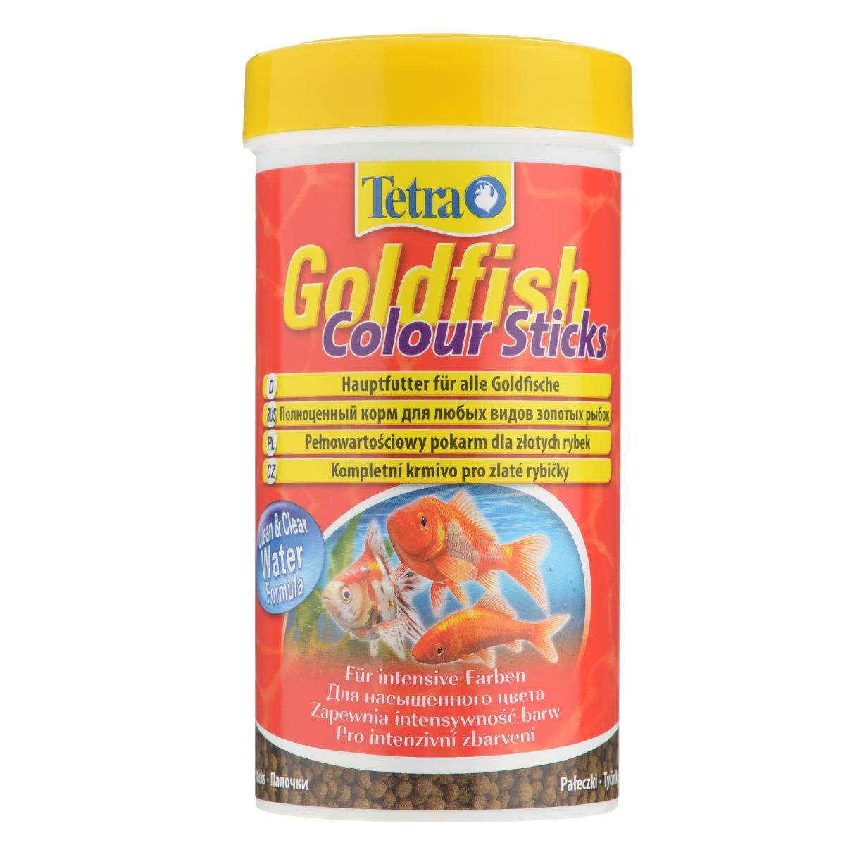 Корм сухой Tetra Goldfish Colour Sticks для любых видов золотых рыбок, в виде палочек, 250 мл0120710Корм Tetra Goldfish Colour Sticks - это высококачественный сбалансированный питательный корм для любых видов золотых рыбок. Превосходное качество корма - гарантия лучшего для ваших золотых рыбок. Особенности Tetra Goldfish Colour Sticks:усилители цвета обеспечивают яркую и интенсивную окраску,формула Clean & Clean Water и запатентованная формула BioActive - для поддержания здоровья и продолжительности жизни. Рекомендации по кормлению: кормить несколько раз в день маленькими порциями. Характеристики: Состав: рыба и побочные рыбные продукты, экстракты растительного белка, зерновые культуры, растительные продукты, овощи, дрожжи, моллюски и раки, масла и жиры, водоросли (спирулина максима 6,0%), минеральные вещества.Пищевая ценность: сырой белок - 30%, сырые масла и жиры - 6%, сырая клетчатка - 2,0%, влага - 8%.Добавки: витамины, провитамины и химические вещества с аналогичным воздействием: витамин А 30000 МЕ/кг, витамин Д3 1870 МЕ/кг. Комбинации элементов: Е5 Марганец 81 мг/кг, Е6 Цинк 48 мг/кг, Е1 Железо 32 мг/кг, Е3 Кобальт 0,6 мг/кг. Красители, консерванты, антиоксиданты. Вес: 250 мл (75 г).