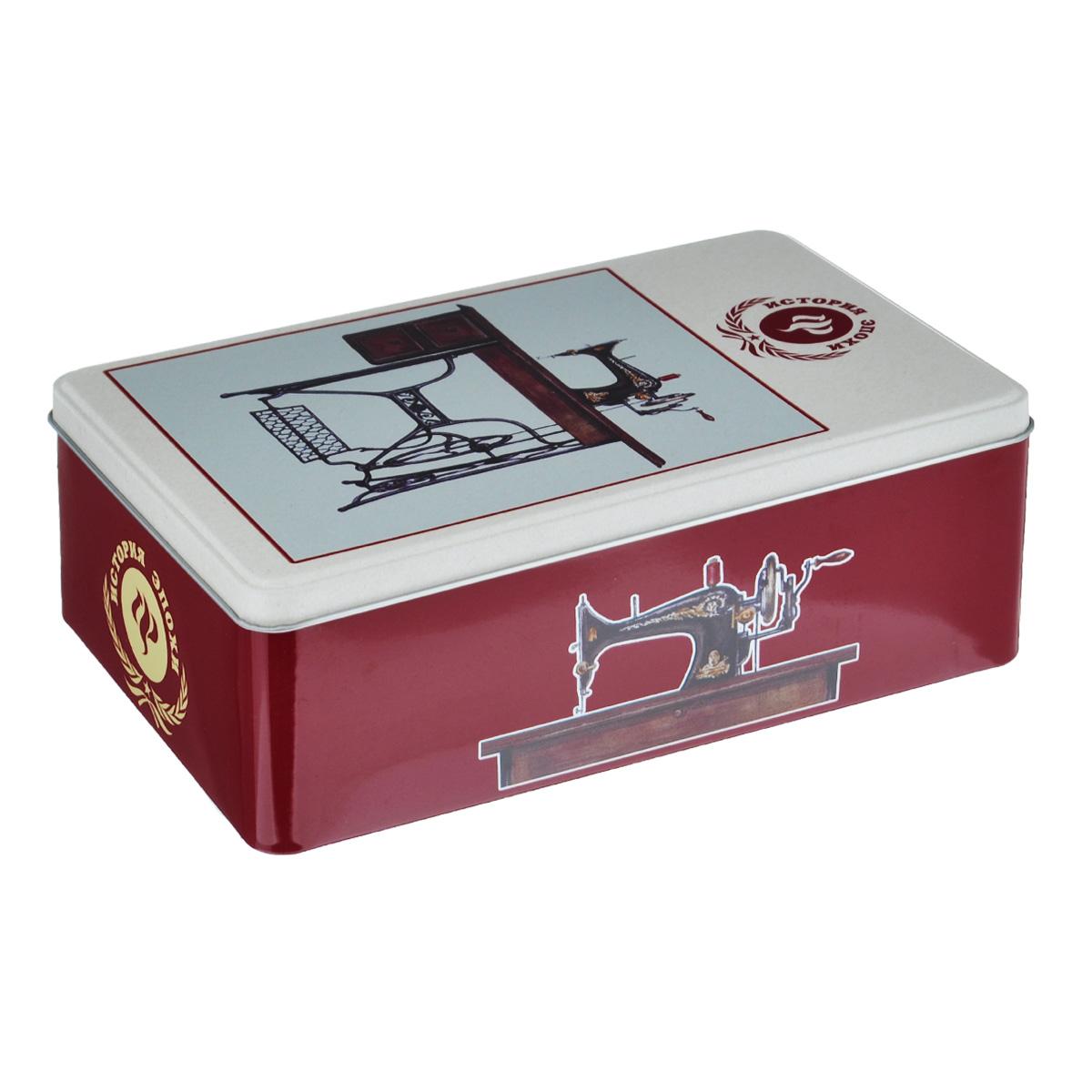 Коробка для хранения Феникс-презент Советская швейная машинка, 20 х 13 х 6,5 см37671Коробка для хранения Феникс-презент Советская швейная машинка, выполненная из металла, декорирована изображением швейной машинки. Внутри коробки имеется одно вместительное отделение. Крышка изделия открывается с помощью откидного механизма.Коробка для хранения Феникс-презент Советская швейная машинка станет оригинальным украшением интерьера и позволит хранить украшения, бижутерию, а также предметы шитья или рукоделия.