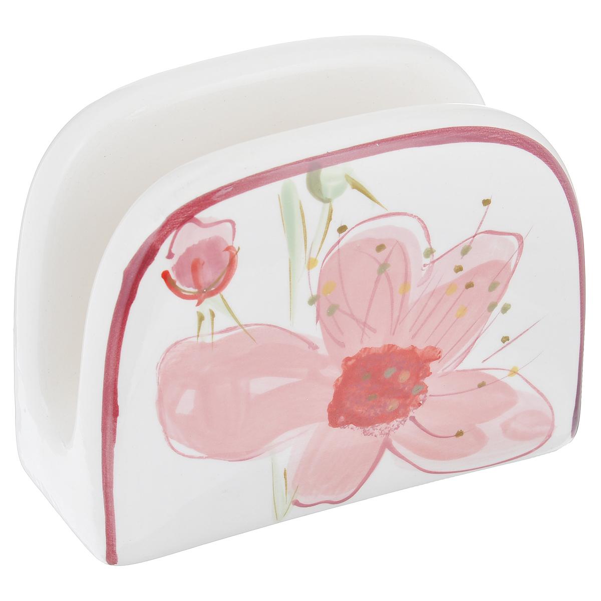 Подставка для салфеток Вишня115510Подставка для салфеток Вишня станет оригинальным украшением стола. Изделие выполнено из высококачественной керамики, покрытой слоем сверкающей глазури. Подставка декорирована изображением цветков вишни. Такая подставка красиво оформит стол и создаст особое настроение. Размер подставки: 13,5 см х 10 см х 6 см. Можно мыть в посудомоечной машине.