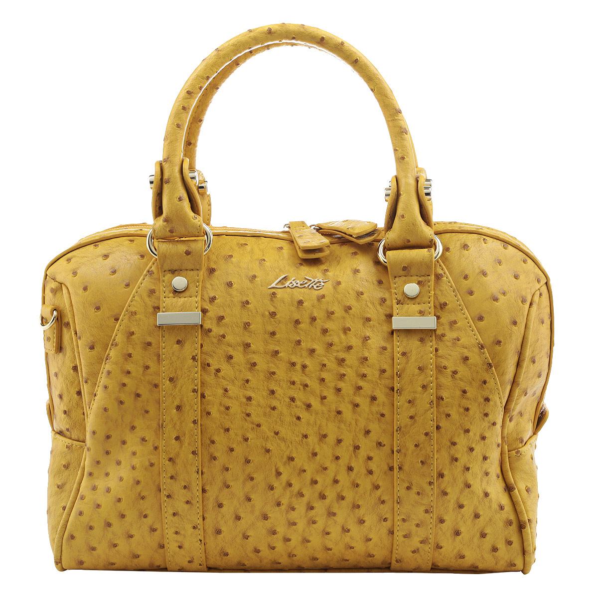 Сумка женская Lisette, цвет: желтый. 12-R38375B23008Изысканная женская сумка Lisette выполнена из искусственной качественной кожи. Сумка закрывается на пластиковую застежку-молнию. Внутри - большое отделение, небольшой втачной кармашек на застежке-молнии и два накладных кармашка для телефона, мелочей.Роскошная сумка внесет элегантные нотки в ваш образ и подчеркнет ваше отменное чувство стиля.