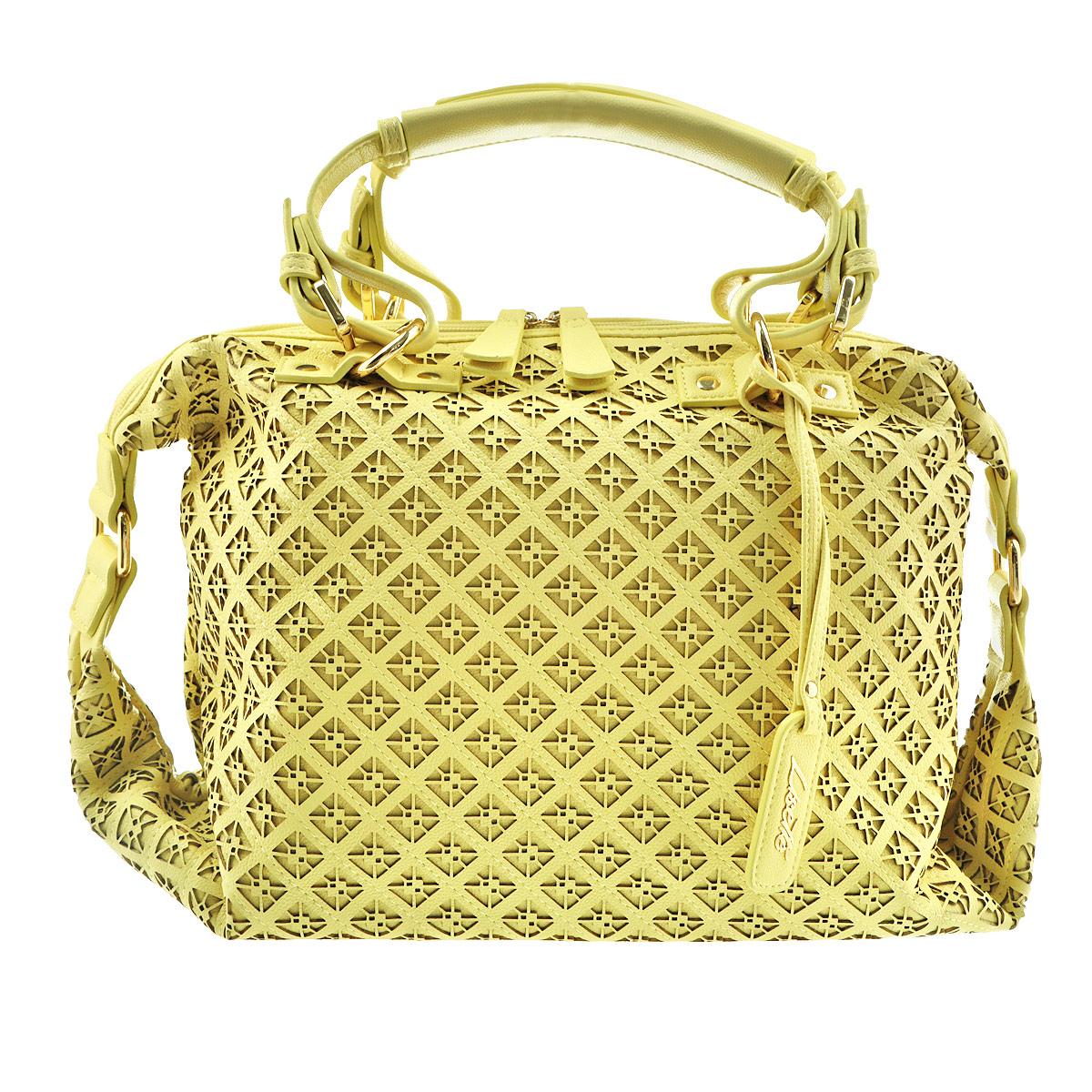 Сумка женская Lisette, цвет: желтый. 12-R38319BS76245Изысканная женская сумка Lisette выполнена из высококачественной искусственной кожи и декорирована перфорацией. Сумка закрывается на пластиковую застежку-молнию. Внутри - большое отделение, небольшой втачной кармашек на застежке-молнии и два накладных кармашка для телефона, мелочей. В дно вставлен специальный уплотнитель, который предотвращает провисание сумки.В комплекте съемный плечевой ремень регулируемой длины.Роскошная сумка внесет элегантные нотки в ваш образ и подчеркнет ваше отменное чувство стиля.