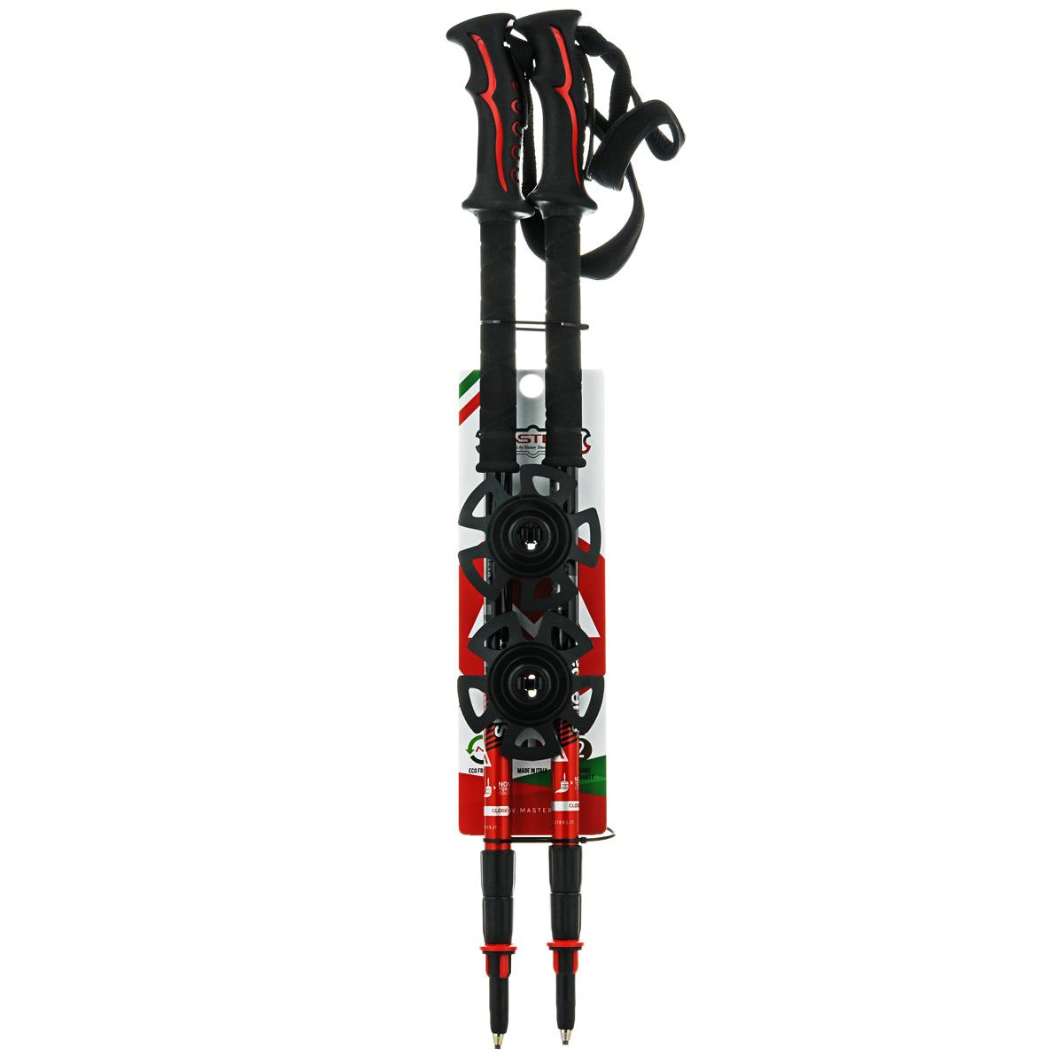 Палки для трекинга Masters Sherpa XT, телескопические, 65-140 см01S0514Masters Sherpa XT - телескопические трекинговые палки, отличающиеся особой прочностью и запатентованной системой секционной блокировки SBS - Super Blocking System, разработанной по цанговому принципу с расширенной площадью блокировки колена, позволяющей выдерживать большие нагрузки. Разработаны для экстремальных походов и восхождений с дополнительным весом. Имеют эргономичную рукоятку Soft Touch отличающуюся особой мягкой поверхностью с влагоотводящей текстурой, а также дополнительным продолжением для низкого хвата Foam, что позволяет произвести комфортный хват при любом градусе подъема или спуска. Эргономичный регулируемый темляк с запатентованной системой блокировки длины при изменении угла Automatic Stop. При весе всего в 280 г используется легкий, упругий и самый прочный алюминиевый сплав 7075. Палки телескопические состоят из 3 секций для удобства транспортировки на рюкзаке или ином снаряжении. В нижних двух секциях расположена метрическая разметка для быстрой и точной регулировки длины палки под рост. Наконечник карбидовый, для высокого сцепления, вплоть до гладких каменных пород. Сменные кольца быстро и надежно крепятся с использованием запатентованной технологии RBS Short Support - крепления сменных насадок в один клик. Поверхность секций отличается высокой степенью полировки и многослойной покраской. Используются только нетоксичные краски. Диапазон регулируемой высоты под рост составляет 65-140 см. Все пластиковые детали выполнены ведущим мировым производителем - компанией DuPont. Детали отличаются особыми износостойкими характеристиками и выдерживают эксплуатацию в условиях экстремальных температур от -50°С до +40°С.Технологии: POLISHED SHAFT - идеально отполированные детали.65-140 - шаблон моделирования высоты, универсальный рост.SOFT TOUCH - эргономичная рукоять отличающаяся особой мягкой поверхностью с влагоотводящей текстурой, комбинирована дополнительным продолжением для низкого хв