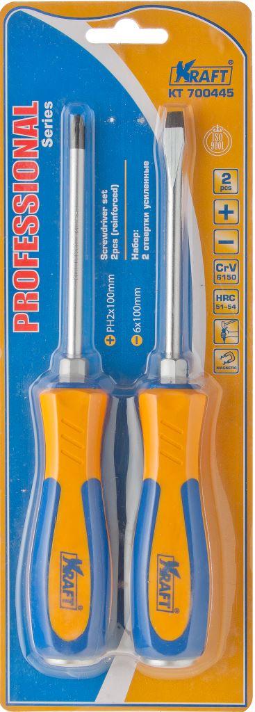 Набор отверток усиленных Kraft Professional, 2 шт98298130Усиленные отвертки Kraft Professional предназначен для монтажа/демонтажа резьбовых соединений. Имеют удобную ударопрочную ручку и магнитный наконечник. Инструменты выполнены из высококачественной стали высококачественной хромованадиевой стали. Твердость по Роквеллу 51-54.В набор входят отвертки PH2 х 100 мм, 6 мм х 100 мм.Общая длина отверток: 21 см.