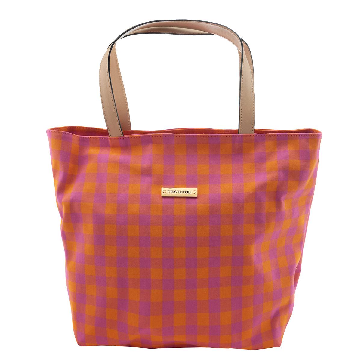Сумка женская Cristofoli, цвет: оранжевый, розовый. 2150013210002Изысканная женская сумка Cristofoli выполнена из высококачественного текстиля. Сумка закрывается на металлическую застежку-молнию. Внутри - большое отделение и открытый накладной карман для мелочей.Эта оригинальная сумка внесет элегантные нотки в ваш образ и подчеркнет ваше отменное чувство стиля.