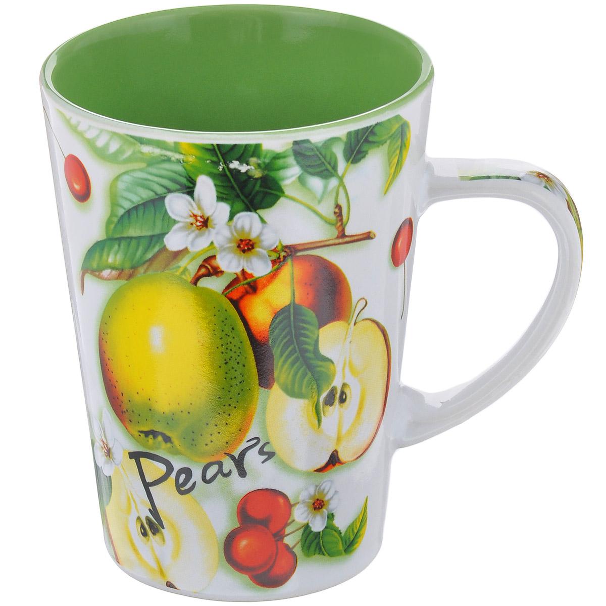 Кружка Дюшес, 365 мл115510Кружка Дюшес выполнена из высококачественной керамики. Изделие оформлено красочным изображением фруктов. Кружка отличается практичностью и высоким качеством. Кружка Дюшес принесет истинное удовольствие от чаепития. Диаметр по верхнему краю: 8,5 см. Высота 11,5 см. Объем: 365 мл.