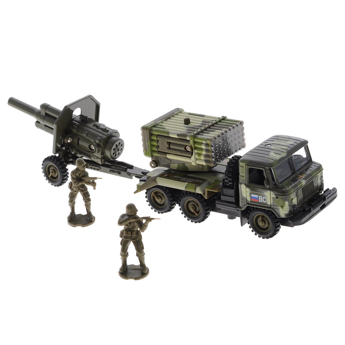 """Игровой набор ТехноПарк """"ГАЗ 66 военный"""" непременно станет любимой игрушкой вашего малыша. В набор входит военный грузовик марки ГАЗ 66 с установкой """"Град"""", пушка-прицеп и две фигурки солдатиков. Игрушки изготовлены из металла и высококачественного пластика. Дверцы кабины и капот машинки открываются. Установка """"Град"""" поднимается и поворачивается на 360 градусов. Между кабиной и кузовом расположено запасное колесо, которое также может быть использовано по назначению. При нажатии кнопки на установке и на пушке начинают светиться огоньки, при этом слышны звуки боя и приказы командира. При нажатии кнопки на пушке звучат реалистичные звуки выстрелов. Машинка оснащена инерционным ходом. Ее необходимо отвести назад, затем отпустить - и она быстро поедет вперед. Прорезиненные колеса обеспечивают надежное сцепление с любой гладкой поверхностью. Ваш ребенок будет часами играть с этим набором, придумывая различные истории. Порадуйте его таким замечательным подарком! Машинка..."""