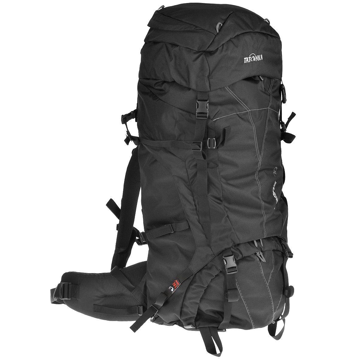 Рюкзак туристический Tatonka Tamas 70, цвет: черный, 70 л6017.040Вместительный рюкзак Tatonka Tamas 70 среднего объема. Отличный выбор для походов на байдарках - алюминиевые шины легко вытаскиваются из спины рюкзака и его можно компактно сложить и убрать в лодку.Преимущества и особенности: Система переноски: Y1Широкий поясной ременьЛямки регулируются по высоте, длине и плотности прилегания к рюкзакуКрышка рюкзака регулируется по высотеДоступ в основное отделение сверху и в центральной частиСъемное отделение между отделениямиШины жесткости легко снимаютсяКрепление для ледорубов и трекинговых палокКарман в крышке рюкзакаНагрудный ременьУтягивающие ремни по бокам.