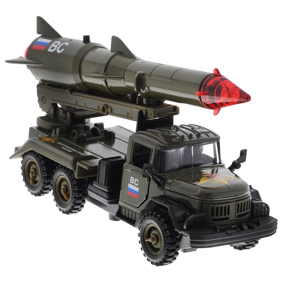 """Инерционная машинка ТехноПарк """"ЗИЛ 131 с ракетой"""", выполненная из пластика и металла, станет любимой игрушкой вашего малыша. Игрушка представляет собой модель военного автомобиля ЗИЛ 131, оснащенную подвижной пусковой установкой с ракетой. Дверцы кабины и капот открываются. При нажатии кнопки на ракете боеголовка начинает мигать, при этом слышны звуки стрельбы и команды военных. Игрушка оснащена инерционным ходом. Машинку необходимо отвести назад, затем отпустить - и она быстро поедет вперед. Прорезиненные колеса обеспечивают надежное сцепление с любой гладкой поверхностью. Ваш ребенок будет часами играть с этой машинкой, придумывая различные истории. Порадуйте его таким замечательным подарком! Машинка работает от батареек (товар комплектуется демонстрационными)."""