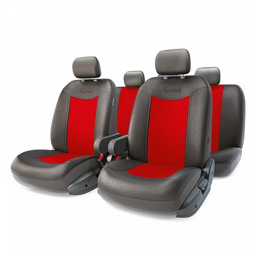 Авточехлы Autoprofi Grand Full, цвет: черный, красный, 13 предметов. Размер M98298130Автомобильные чехлы Autoprofi Grand Full изготавливаются из высококачественной экокожи с перфорированными цветными вставками. Мягкие и дышащие, чехлы являются отличным дополнением салона любого автомобиля. Изделия выполнены в классическом дизайне и придают автомобильному интерьеру современные и солидные черты.Полиуретановое покрытие искусственной кожи чехлов устойчиво к солнечным лучам, механическому воздействию и растяжению, благодаря чему чехлы отличаются продолжительным сроком эксплуатации.Чехлы из экокожи выглядят стильно в салоне любого автомобиля. На вид чехлы неотличимы от кожаных. Они хорошо скрывают уже имеющиеся дефекты кресла.Универсальная конструкция подходит для большинства автомобильных сидений. Подходят для автомобилей с боковыми подушками безопасности (распускаемый шов).Комплектация: 5 подголовников, 2 подлокотника, 2 спинки переднего ряда, 2 сиденья переднего ряда, 1 спинка заднего ряда, 1 сиденье заднего ряда.Особенности: - Толщина поролона: 5 мм.- Карманы в спинках передних сидений.- 3 молнии в сиденье заднего ряда.- 3 молнии в спинке заднего ряда.- Предустановленные крючки на широких резинках.- Крепление передних спинок липучками.- Использование с боковыми airbag. Размер подголовника: 30 см х 24 см.Размер подлокотника: 37 см х 6 см х 11 см.Размер спинки переднего ряда: 70 см х 57 см.Размер сиденья переднего ряда: 58 см х 54 см.Размер спинки заднего ряда: 140 см х 73 см.Размер сиденья заднего ряда: 135 см х 59 см.