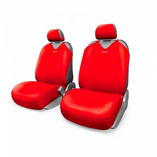 Чехлы-майки Autoprofi R1 - Sport Plus, цвет: красный, 4 предмета80621Чехлы-майки Autoprofi R1 - Sport Plus выполнены в спортивном стиле, который придает салону яркие и динамичные черты. Широкая гамма расцветок чехлов позволяет подобрать их к любому автомобильному интерьеру. Эластичный полиэстер изделий плотно облегает поверхность кресел, не выцветает на солнце и не электризуется. Модель авточехлов-маек оснащена полностью закрытой нижней частью сидений, которая делает чехлы более практичными и износостойкими. Форма чехлов в виде маек позволяет легко и быстро надевать их на кресла любого типа, не прибегая к демонтажу подголовников и подлокотников.Комплектация: 2 чехла для кресел переднего ряда, 2 подголовника.