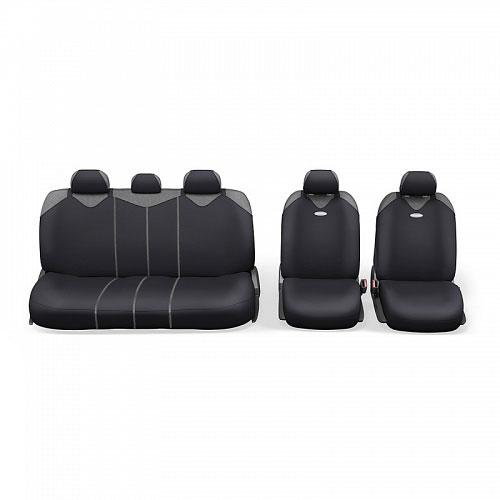 Чехлы-майки Autoprofi R1 - Sport Plus Zippers, цвет: черный, 9 предметовАксион Т-33Чехлы-майки Autoprofi R1 - Sport Plus Zippers выполнены в спортивном стиле, который придает салону яркие и динамичные черты. Широкая гамма расцветок чехлов позволяет подобрать их к любому автомобильному интерьеру. Эластичный полиэстер изделий плотно облегает поверхность кресел, не выцветает на солнце и не электризуется. В креслах заднего ряда расположено 6 молний.Модель авточехлов-маек оснащена полностью закрытой нижней частью сидений, которая делает чехлы более практичными и износостойкими. Форма чехлов в виде маек позволяет легко и быстро надевать их на кресла любого типа, не прибегая к демонтажу подголовников и подлокотников.Комплектация: 2 чехла кресел переднего ряда, 1 спинка заднего ряда, 1 сиденье заднего ряда, 5 подголовников.Толщина поролона: 2 мм.