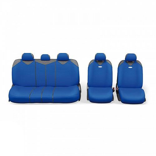 Чехлы-майки Autoprofi R1 - Sport Plus Zippers, цвет: синий, 9 предметовFS-80423Чехлы-майки Autoprofi R1 - Sport Plus Zippers выполнены в спортивном стиле, который придает салону яркие и динамичные черты. Широкая гамма расцветок чехлов позволяет подобрать их к любому автомобильному интерьеру. Эластичный полиэстер изделий плотно облегает поверхность кресел, не выцветает на солнце и не электризуется. В креслах заднего ряда расположено 6 молний.Модель авточехлов-маек оснащена полностью закрытой нижней частью сидений, которая делает чехлы более практичными и износостойкими. Форма чехлов в виде маек позволяет легко и быстро надевать их на кресла любого типа, не прибегая к демонтажу подголовников и подлокотников.Комплектация: 2 чехла кресел переднего ряда, 1 спинка заднего ряда, 1 сиденье заднего ряда, 5 подголовников.Толщина поролона: 2 мм.