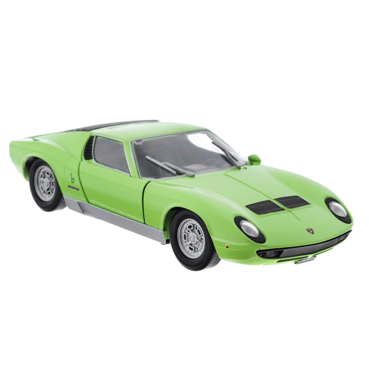 Коллекционная модель MotorMax Lamborghini Miura P 400 S, цвет: светло-зеленый. Масштаб 1/24 коллекционная модель грузовика с полуприцепом motormax