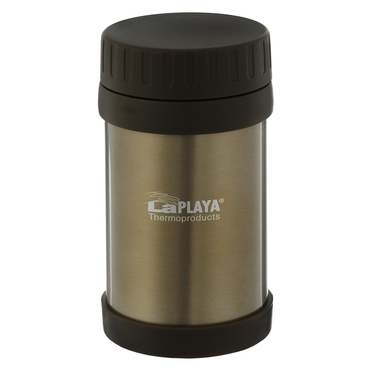 Термос для еды LaPlaya Food Container, цвет: коричневый, 500 мл560084Корпус термоса LaPlaya Food Container изготовлен из высококачественной нержавеющей стали с двумя стенками и превосходной вакуумной изоляцией. Термос оснащен крышкой, благодаря которой сохраняется абсолютная герметичность. Изделие имеет большое горлышко, поэтому идеально подходит для салатов, закусок, первых и вторых блюд.Такой термос удобен в использовании и станет полезным подарком. Нельзя мыть в посудомоечной машине. Диаметр (по верхнему краю): 7 см. Диаметр основания: 8,5 см. Высота (без учета крышки): 15,5 см.