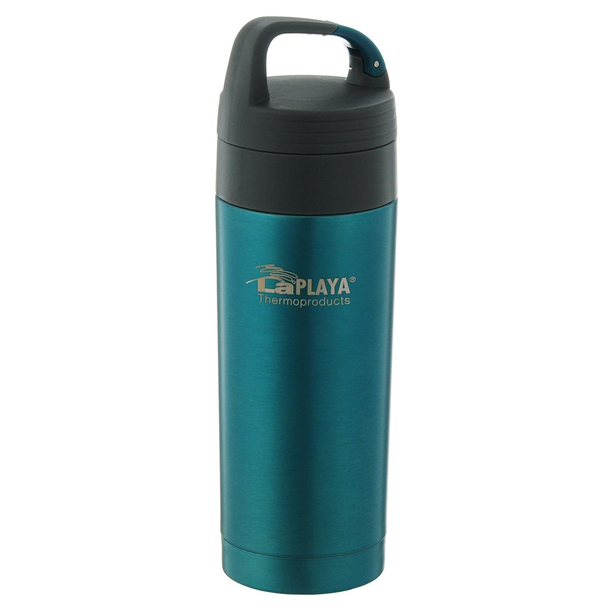 Кружка-термос LaPlaya Carabiner, цвет: голубой, 350 мл115610Кружка-термос LaPlaya Carabiner, изготовленная из высококачественной нержавеющей стали серии Carabiner, очень проста и удобна в использовании. Кружка-термос с двух стеночной вакуумной изоляцией, предназначена для хранения горячих и холодных напитков (чая, кофе), сохраняет их температуру до 6 часов горячими и до 12 часов холодными. Идеально подойдет для прохладительных напитков. Изделие оснащено герметичной и гигиеничной вакуумной крышкой с карабином. Термокружку удобно размещать в большинстве автомобильных держателей для стаканов. При открывании стопор предотвращает расплескивание напитков. Высота (с учетом крышки): 22 см.Диаметр горлышка: 5,5 см.