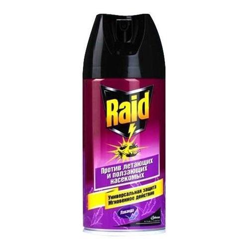 Аэрозоль от ползающих и летающих насекомых Raid Лаванда, 300 мл106-026Аэрозоль Raid - это универсальное инсектицидное средство широкого спектра действия, специальная формула которого поможет избавиться от множества видов насекомых: мух, комаров, москитов, бабочек моли, ос, тараканов, муравьев, клопов, блох, кожеедов. Средство обладает приятным запахом лаванды.