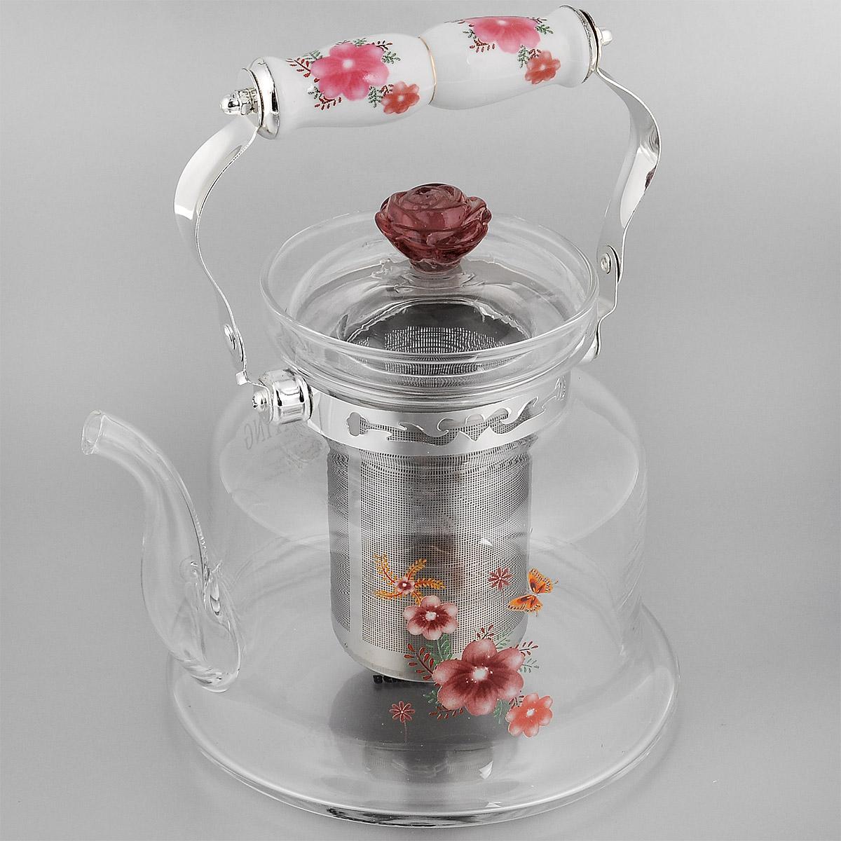 Чайник заварочный Bekker Koch, цвет: красный, 1,4 л. ВК-7620115510Заварочный чайник Bekker Koch выполнен из жаростойкого стекла, которое хорошо удерживает тепло. Ручка и съемное ситечко внутри чайника выполнены из высококачественной нержавеющей стали. Высокая ручка чайника, снабженная фарфоровой насадкой, позволяет с легкостью удерживать его на весу. Съемное ситечко для заварки предотвращает попадание чаинок и листочков в настой. Заварочный чайник украшен изящным рисунком, что придает ему элегантность. Заварочный чайник из стекла удобно использовать для повседневного заваривания чая практически любого сорта. Но цветочные, фруктовые, красные и желтые сорта чая лучше других раскрывают свой вкус и аромат при заваривании именно в стеклянных чайниках и сохраняют полезные ферменты и витамины, содержащиеся в чайных листах.Высота чайника (без учета ручки и крышки): 17,5 см.Размер съемного ситечка: 9 см х 9 смх 11 см.Диаметр чайника (по верхнему краю): 9,5 см.