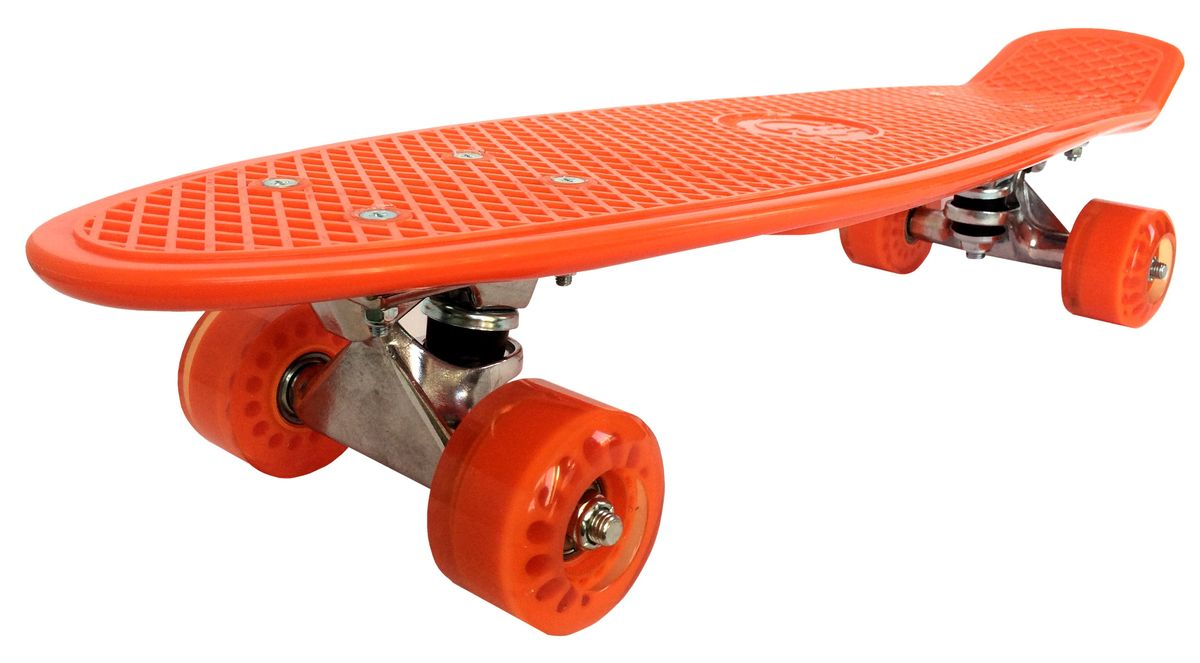 Скейтборд Tiny Orange, цвет: оранжевый, дека 56,5 см х 15 см