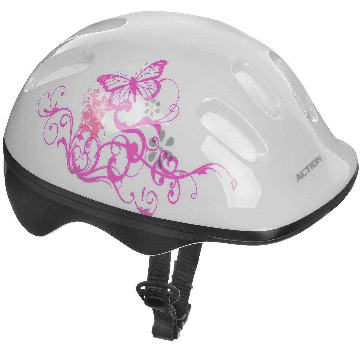 Шлем защитный Action, цвет: белый, розовый. Размер XS (48-51). PWH-10Z90 blackШлем Action послужит отличной защитой для ребенка во время катания на роликах или велосипеде. Он выполнен из плотного вспененного пенопласта, покрытого пластиковой пленкой и отлично сидит на голове, благодаря мягким вставкам на внутренней стороне. Шлем снабжен системой вентиляции и крепится при помощи удобного регулируемого ремня с пластиковым карабином, застегивающимся на подбородке.